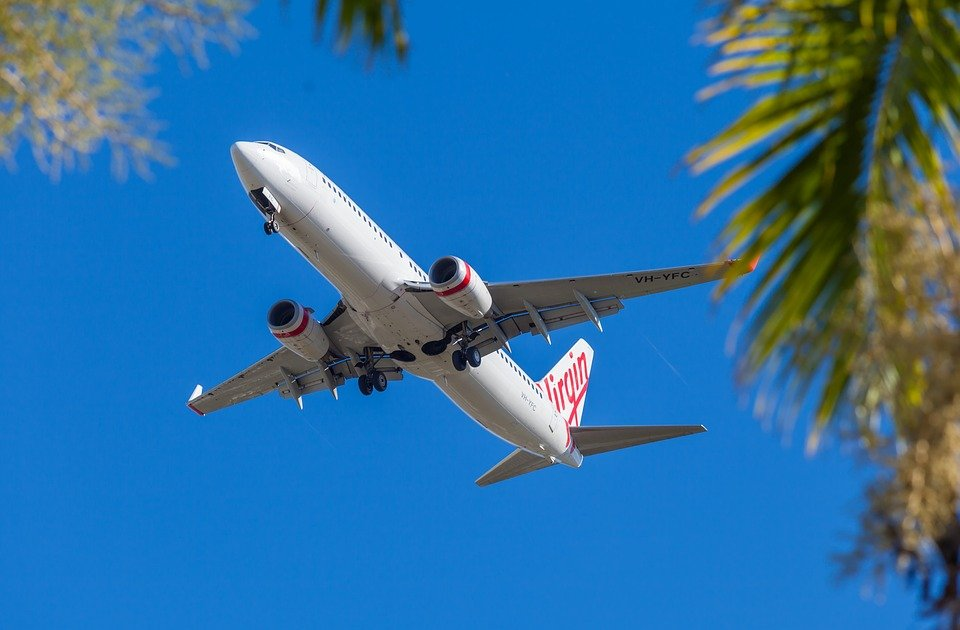 Flugzeug, Palmen, Sonne