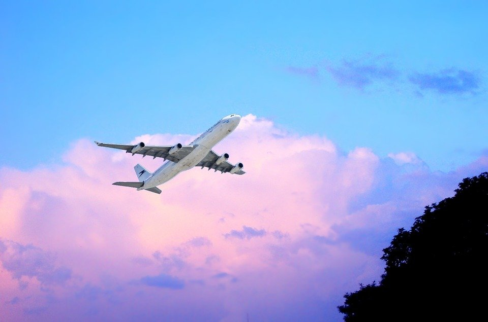 Fliegen, Flugzeug, Sonne, Wolken