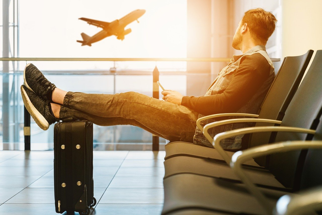 Flughafen, Koffer, Boarding, Flugzeug, Reise, Urlaub