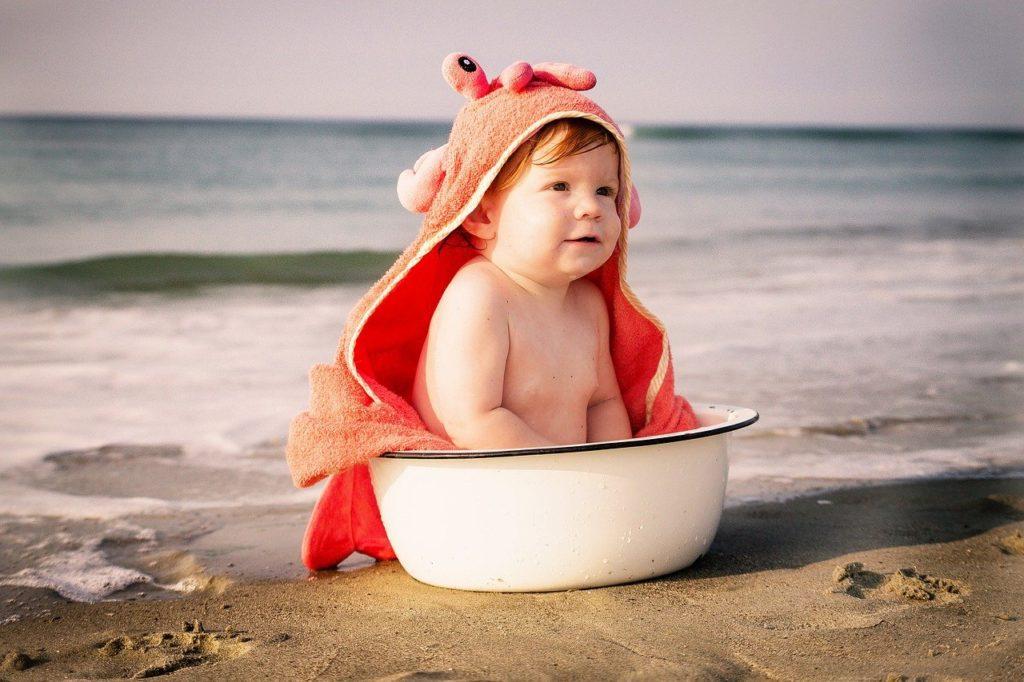 Baby, Urlaub, Reise, Flug, Strand, Meer