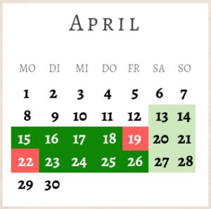 April 2019,Brückentage