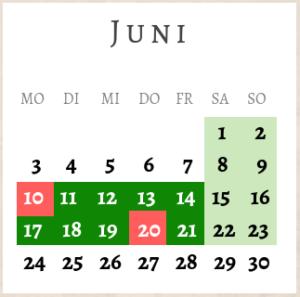 Juni 2019, Brückentage
