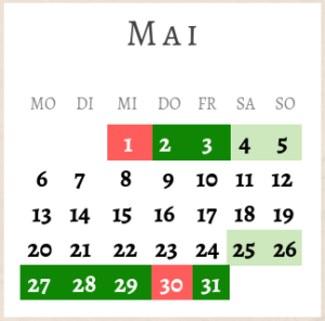 Mai 2019, Brückentage