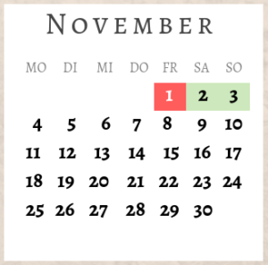 November 2019, Brückentage