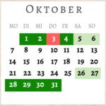 Oktober 2019, Brückentage