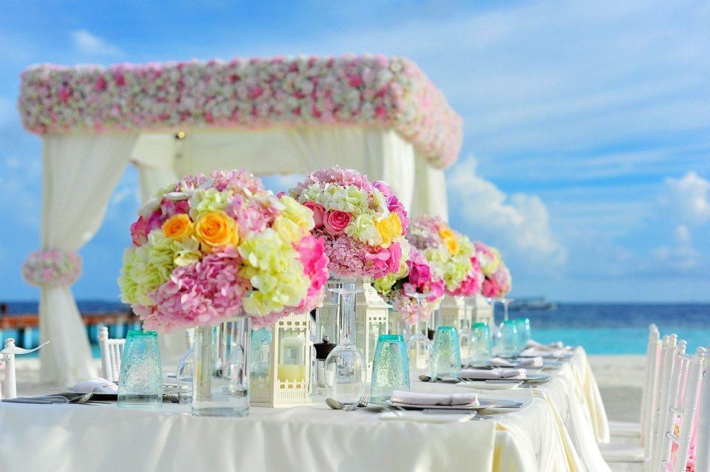 Hochzeit, Strand, Blumen