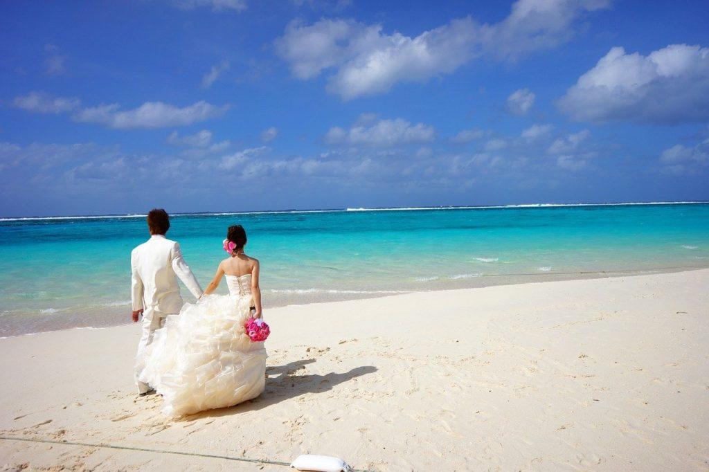 Hochzeit, Strand, Meer, Urlaub