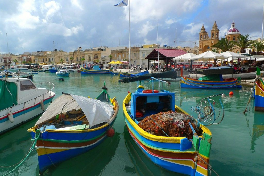 bunte Fischerbote Malta