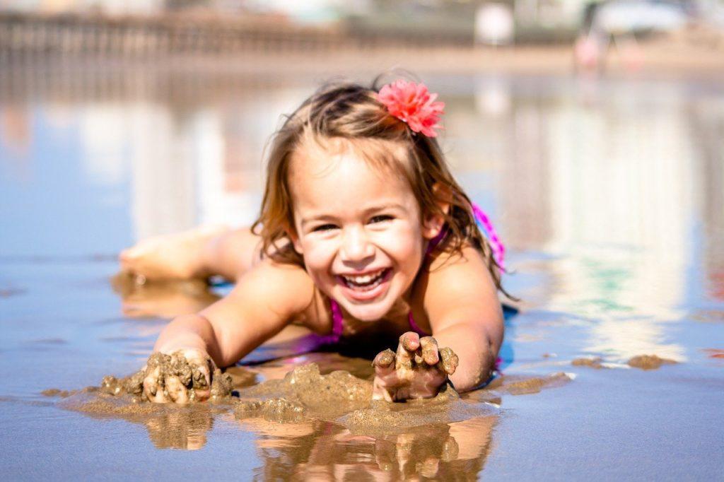 Mädchen, Strand, Kind, Urlaub