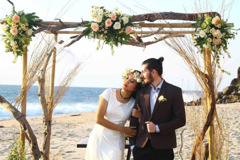 Brautpaar, Hochzeit, Trauung, Strand