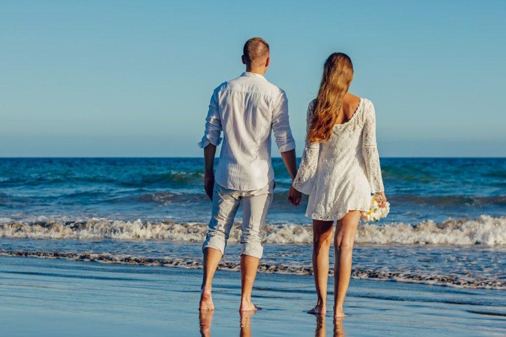Hochzeit, Strand, Trauung, Brautpaar