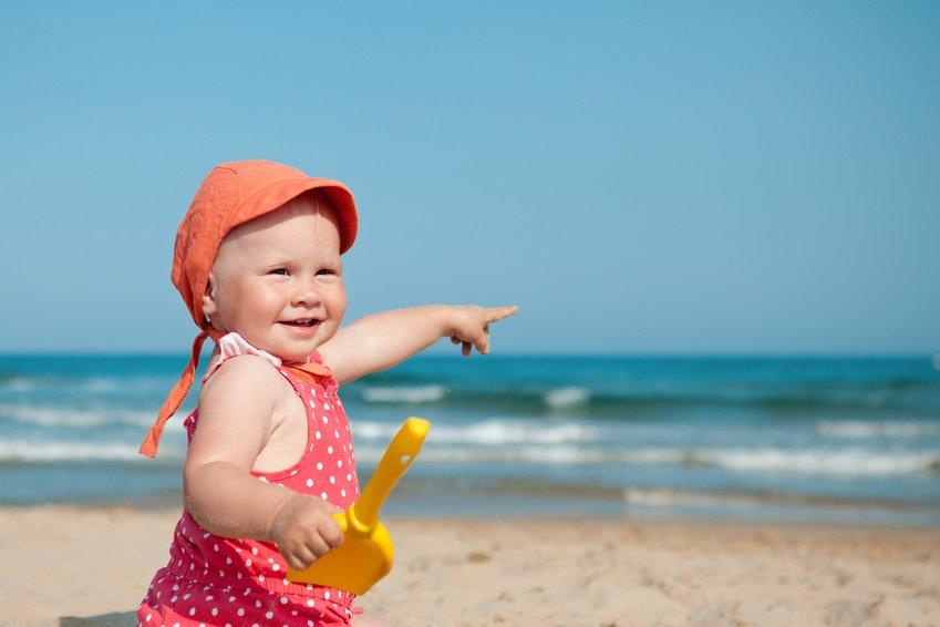 Baby, Mädchen, Strand, Urlaub, Meer, Reise