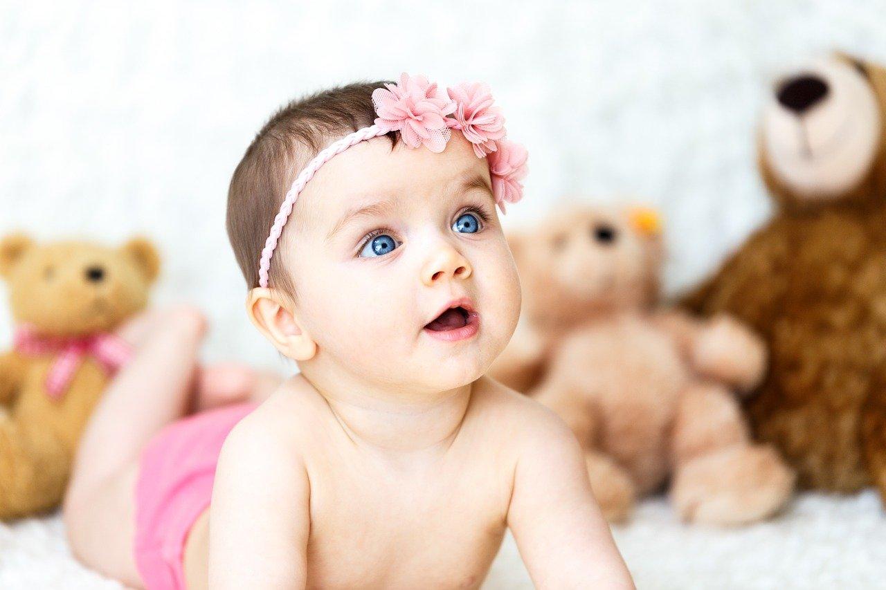 Baby, neugierig, Mädchen, Kuscheltiere, Urlaub