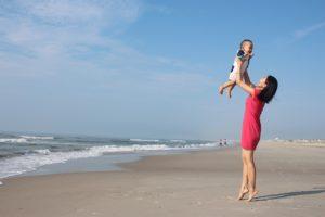 Baby, Mutter, Strand, Urlaub, Reise
